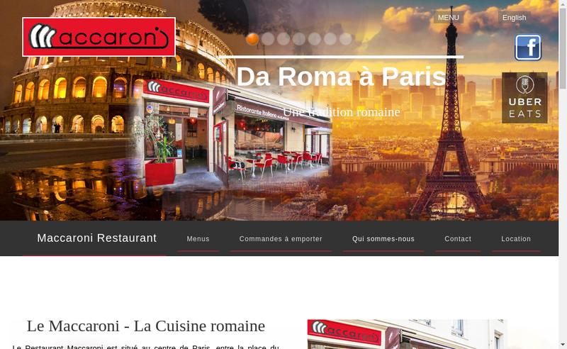 Capture d'écran du site de Maccaroni