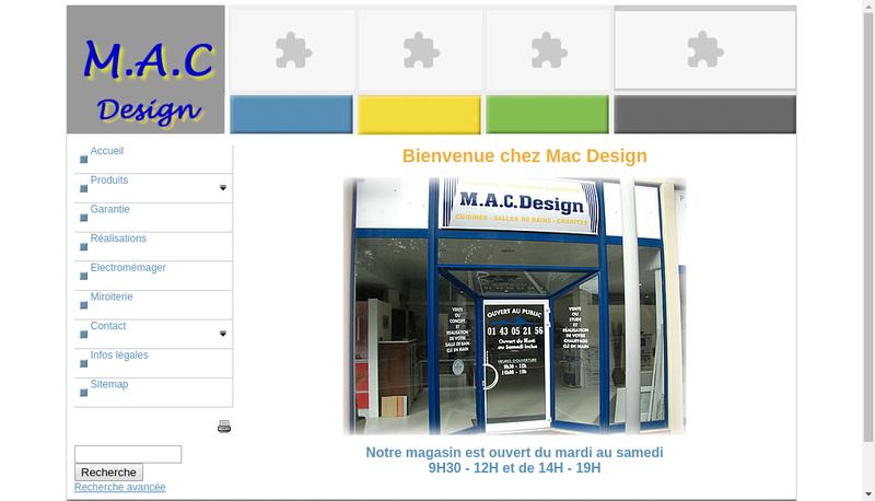 Capture d'écran du site de MAC Design