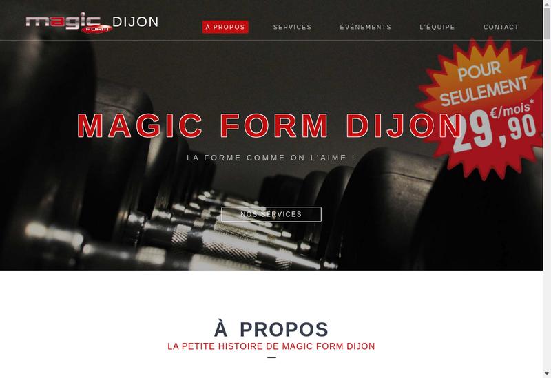 Capture d'écran du site de Magic Form