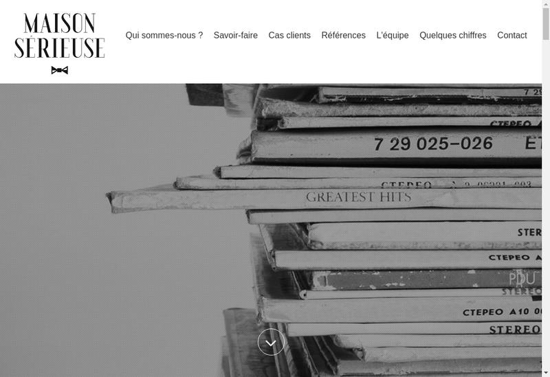 Capture d'écran du site de Maison Serieuse