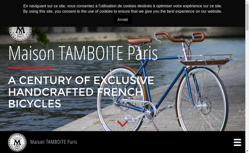 Capture d'écran du site de Maison Tamboite Paris
