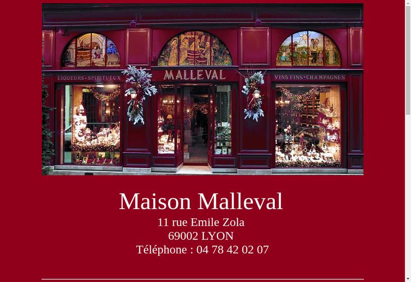 Capture d'écran du site de Maison Malleval