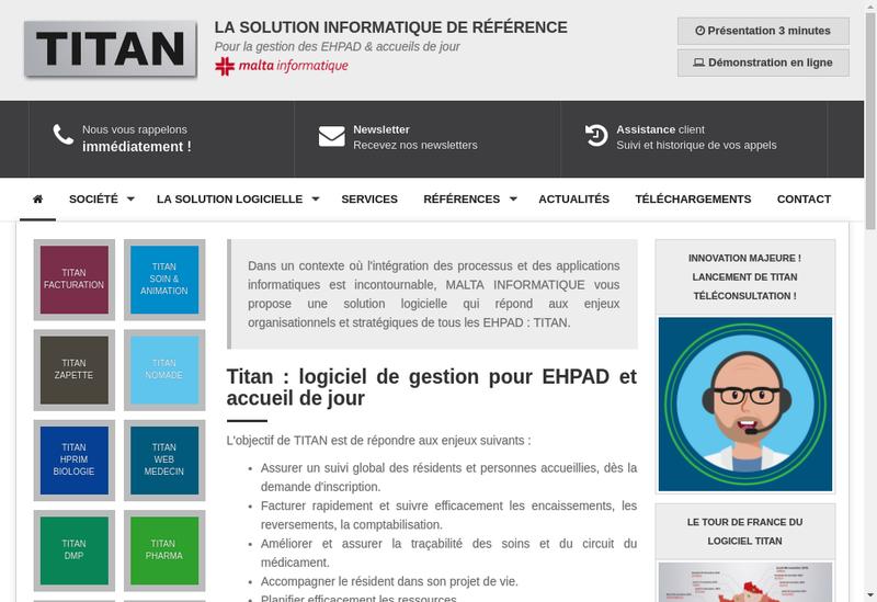Capture d'écran du site de Malta Informatique