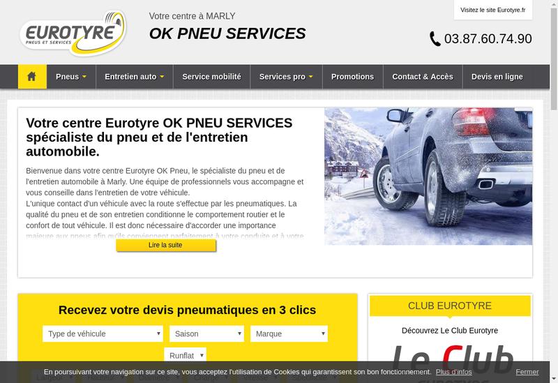 Capture d'écran du site de Ok Pneus Service