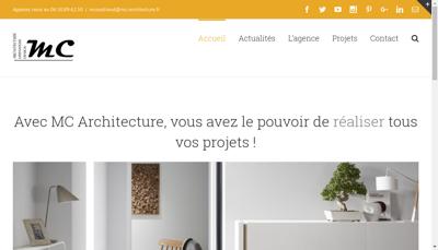 Capture d'écran du site de MC ARCHITECTURE