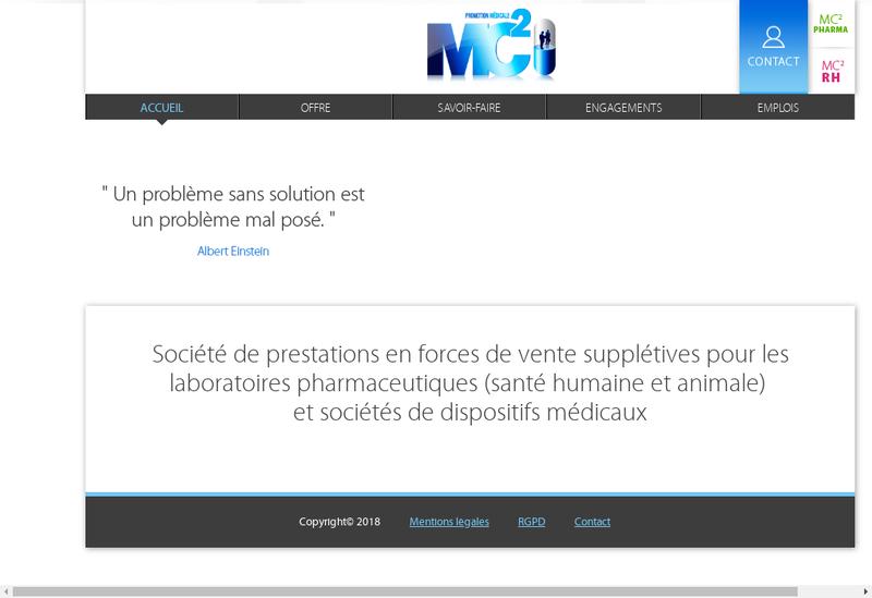 Capture d'écran du site de Mc2 Promotion Medicale