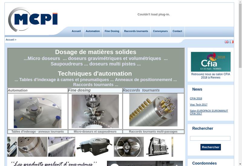 Capture d'écran du site de MCPI