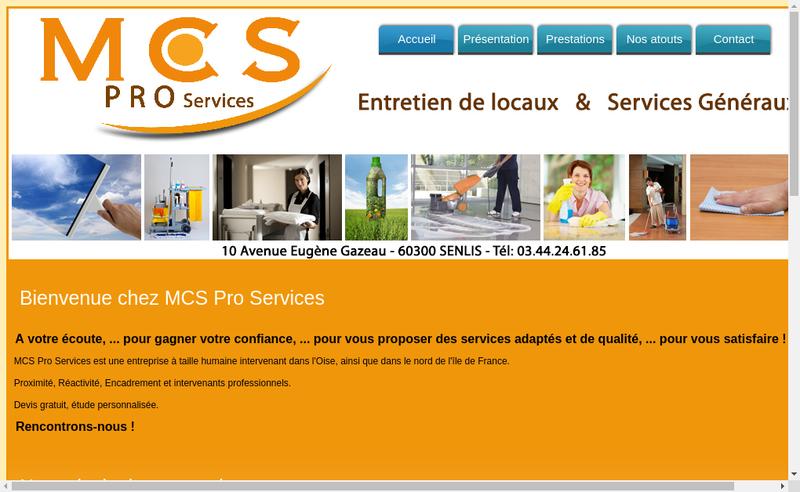 Capture d'écran du site de Mcs Pro Services