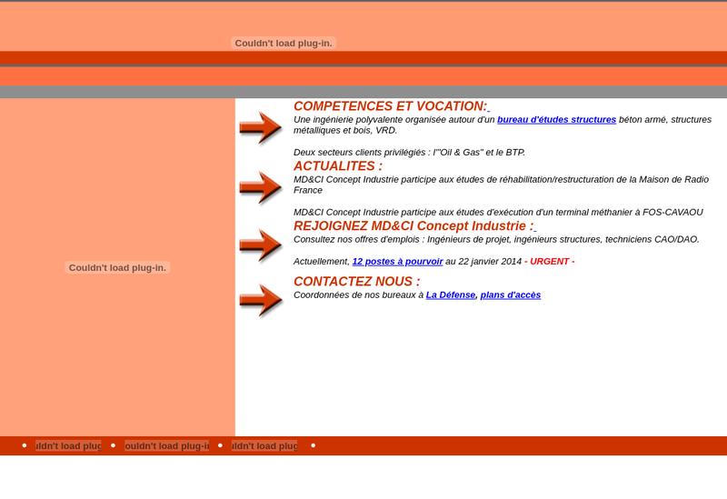 Capture d'écran du site de Md&Ci Concept Industrie