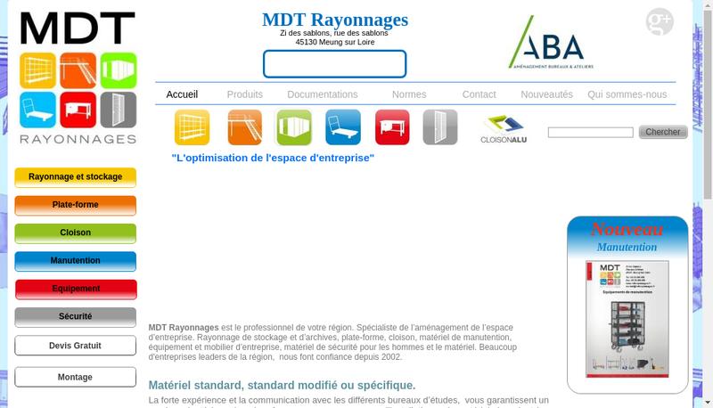Capture d'écran du site de Mdt Rayonnages