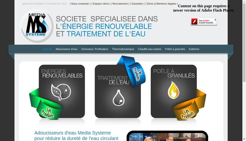 Capture d'écran du site de Media Systeme