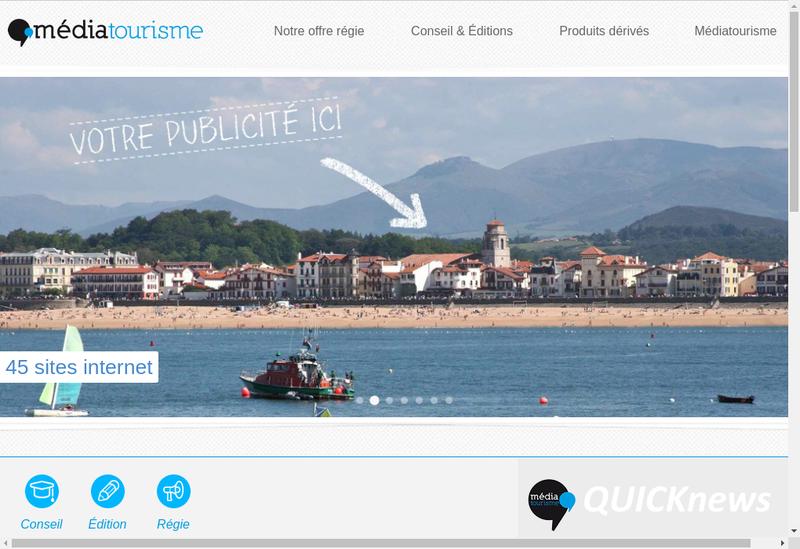 Capture d'écran du site de Mediatourisme