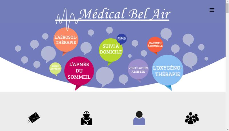 Capture d'écran du site de Medical Bel Air