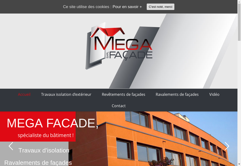 Capture d'écran du site de Mega-Facade
