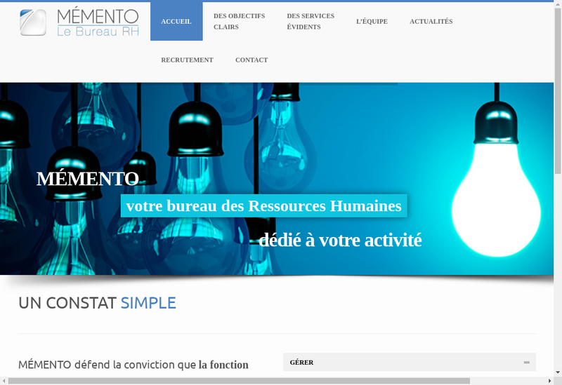 Capture d'écran du site de Memento
