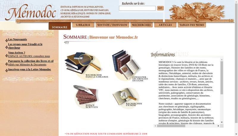 Capture d'écran du site de Memodoc