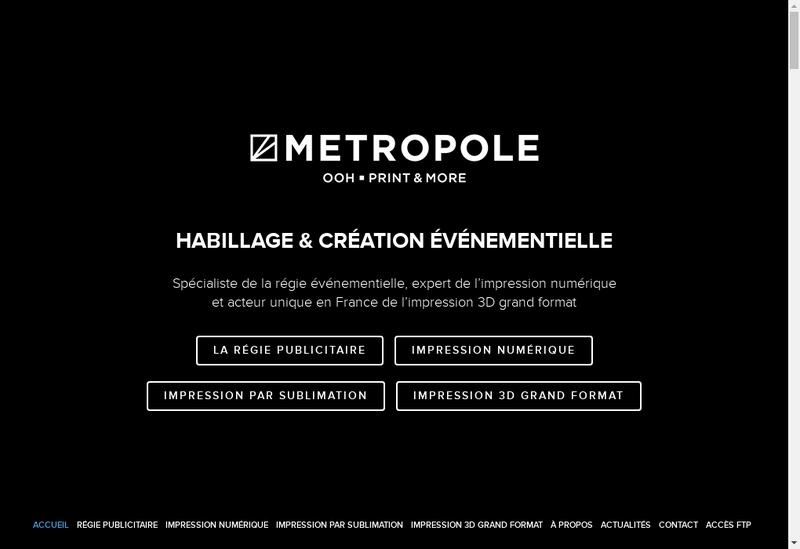 Capture d'écran du site de Metropole Atelier
