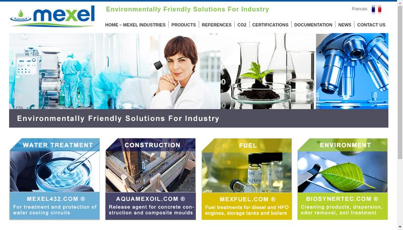 Capture d'écran du site de Mexel Industries