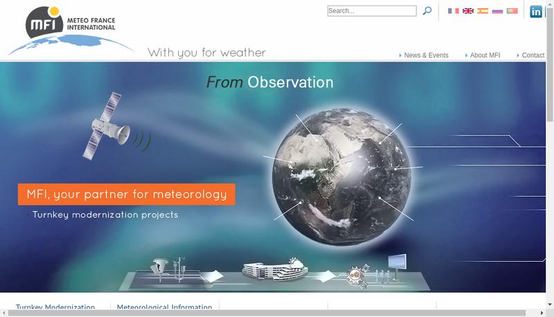 Capture d'écran du site de Meteo France International
