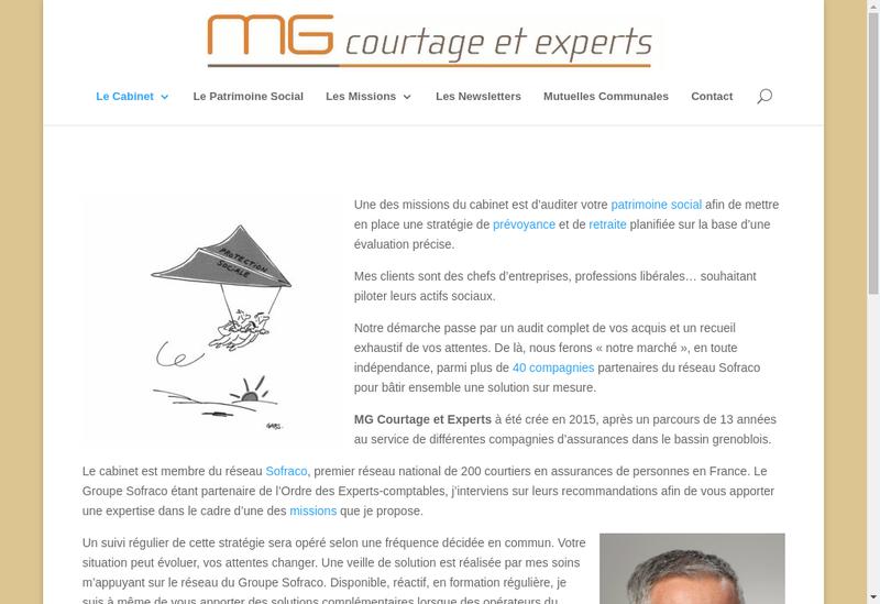Capture d'écran du site de Mg Courtage et Experts - Sofraco