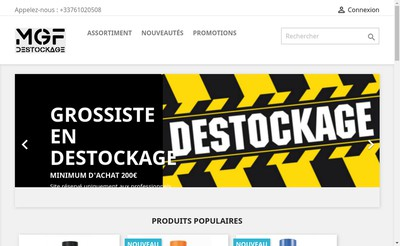 Site internet de Mgf Destockage