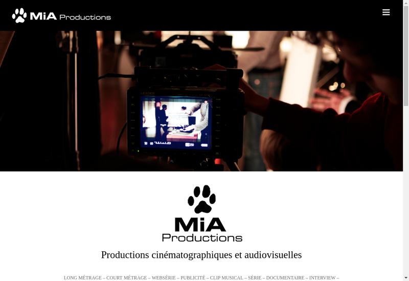 Capture d'écran du site de Mia Productions