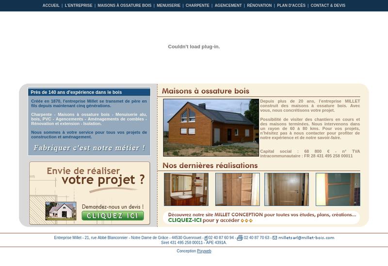 Capture d'écran du site de SARL Millet