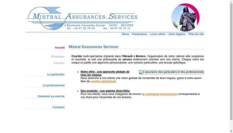Capture d'écran du site de Mistral Assurances Services MAS