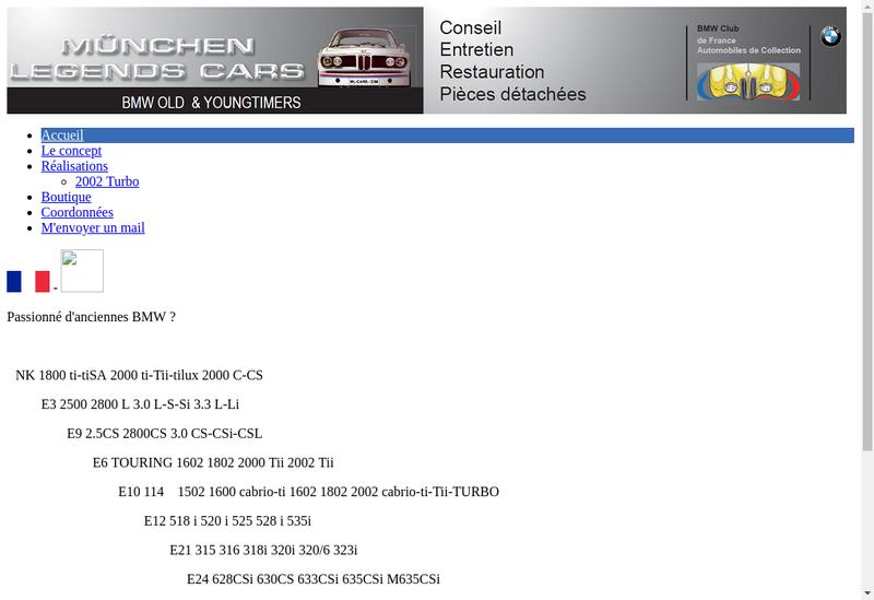 Capture d'écran du site de Ml Cars