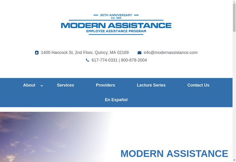 Capture d'écran du site de Modern Assistance