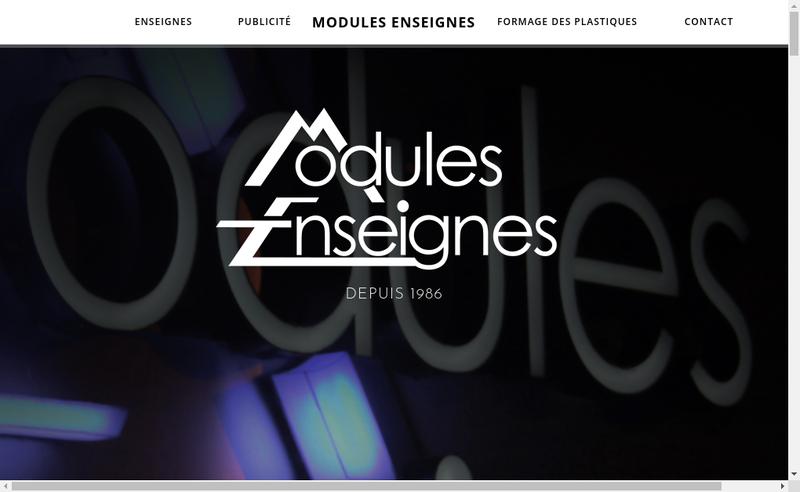 Capture d'écran du site de Modules Enseignes
