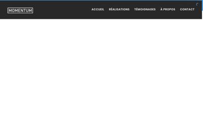 Capture d'écran du site de Momentum Productions