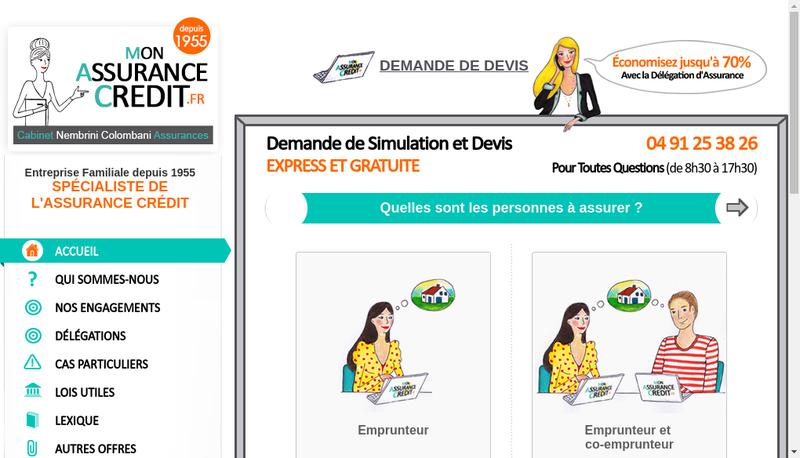 Capture d'écran du site de Mon Assurance Credit
