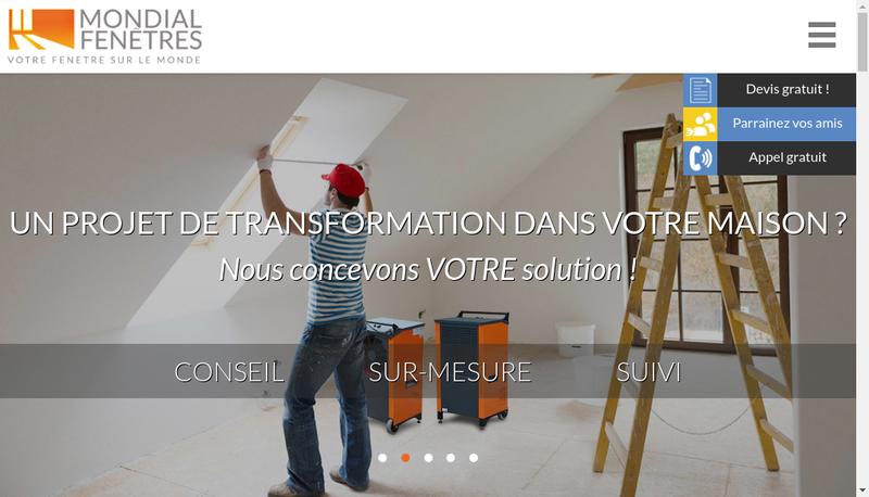Capture d'écran du site de Mondial Fenetre