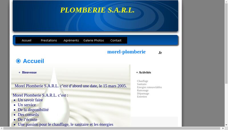 Capture d'écran du site de Morel Plomberie
