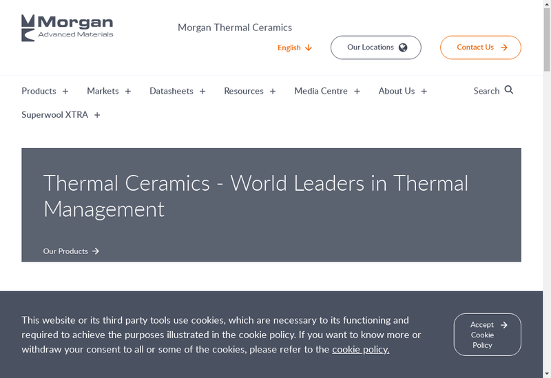 Capture d'écran du site de Thermal Ceramics de France