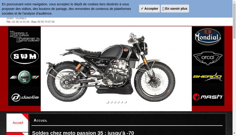 Capture d'écran du site de Moto Passion 35