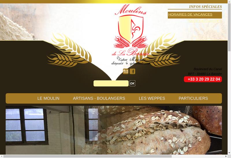 Capture d'écran du site de Les Moulins de la Bassee