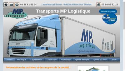 Capture d'écran du site de MP Logistique