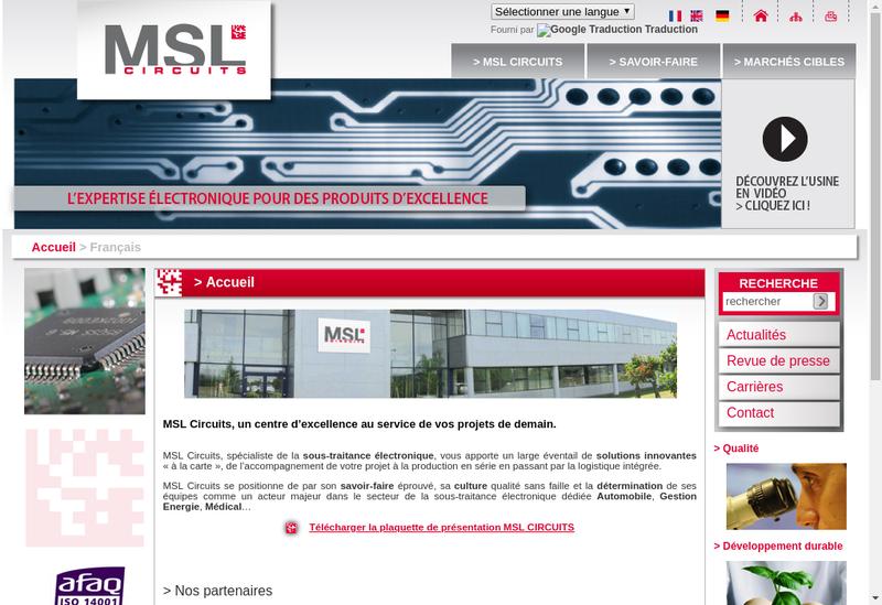 Capture d'écran du site de Msl Circuits