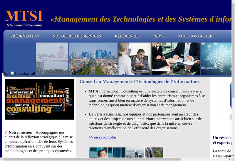 Capture d'écran du site de SARL International Consultant