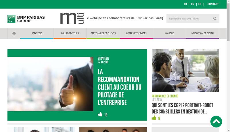 Capture d'écran du site de Gie Bnp Paribas Cardif
