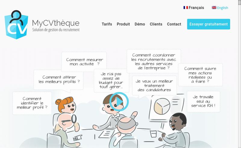Capture d'écran du site de MyCVthèque