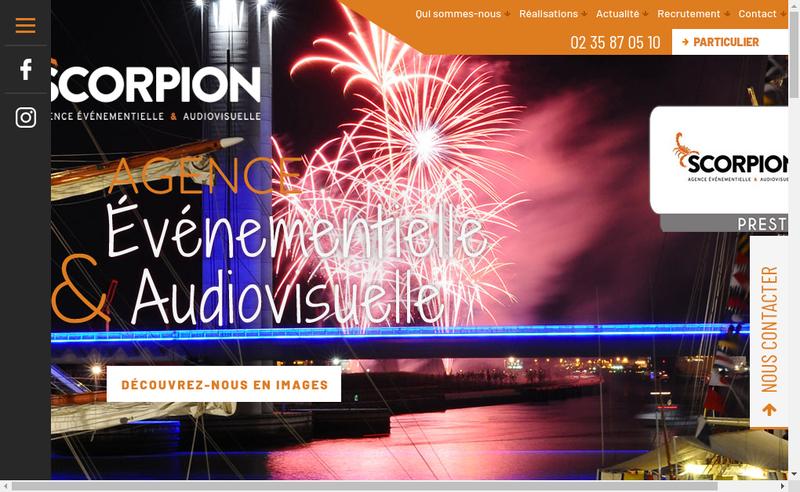 Capture d'écran du site de Scorpion