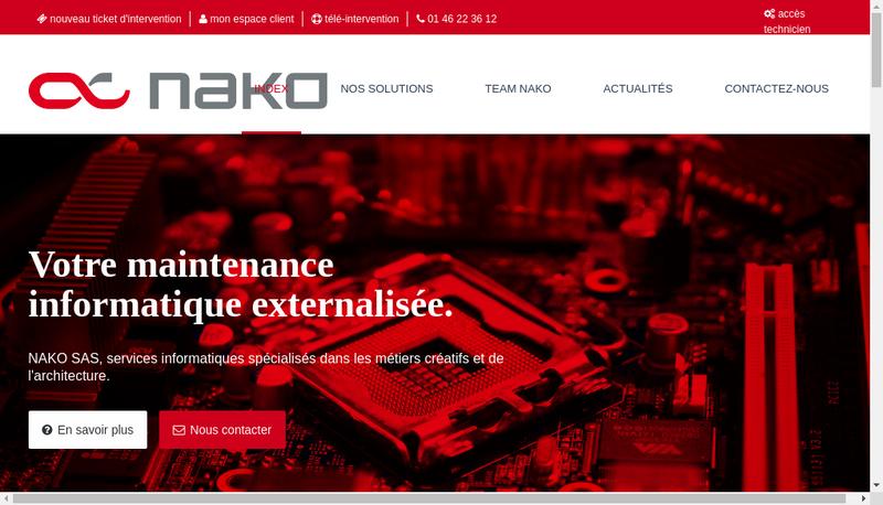 Capture d'écran du site de NAKO