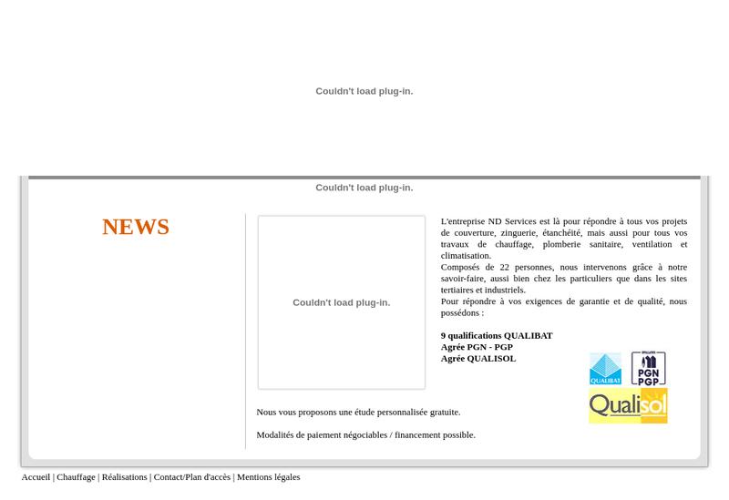 Capture d'écran du site de Nd Services Thermique