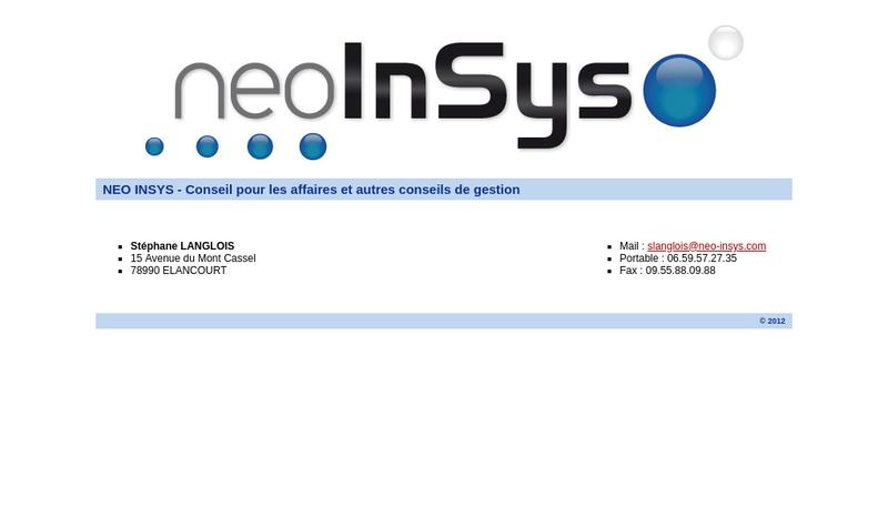 Capture d'écran du site de Neo Insys