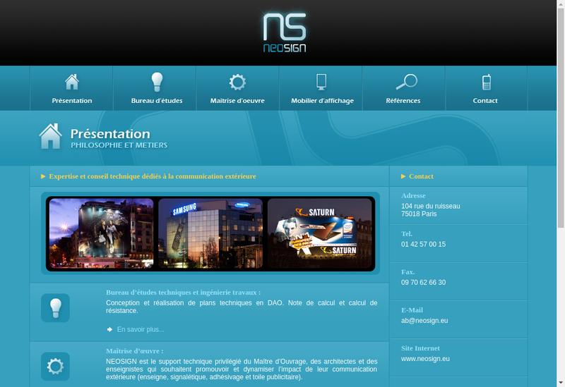 Capture d'écran du site de Neosign