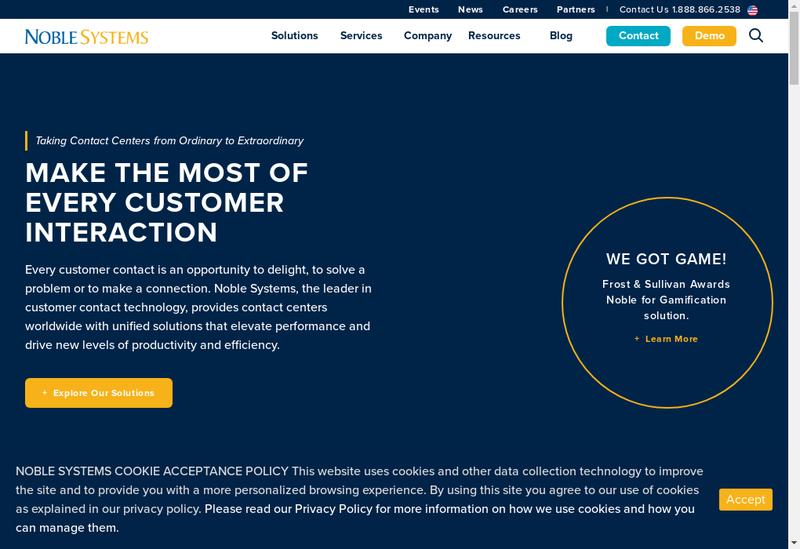 Capture d'écran du site de Noble Systems France