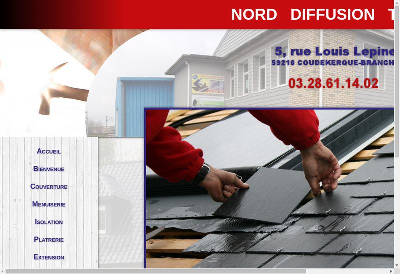 Capture d'écran du site de Nord Diffusion Toiture